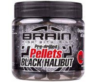 Пеллетс Brain Black Halibut Pre drilled 14 мм (0.25 кг)